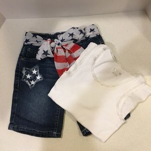 Patriotic Bermuda Jean Shorts w/ White Lace Tank